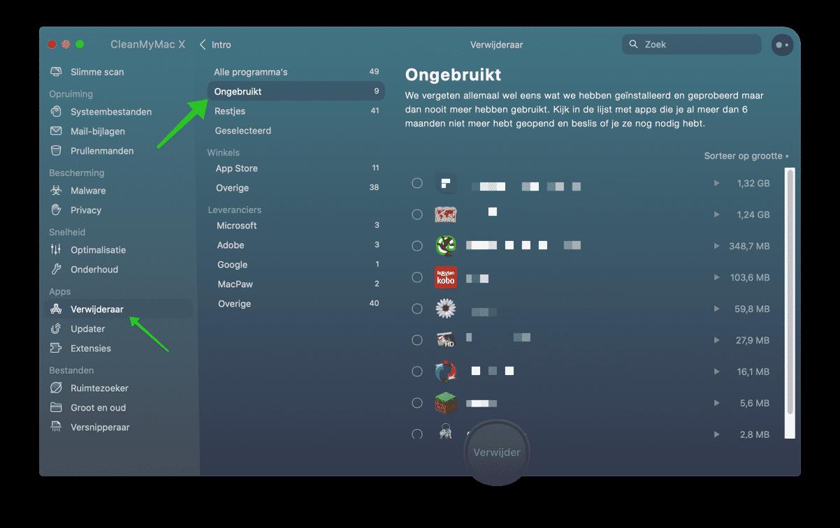 vind ongebruikte apps op mac