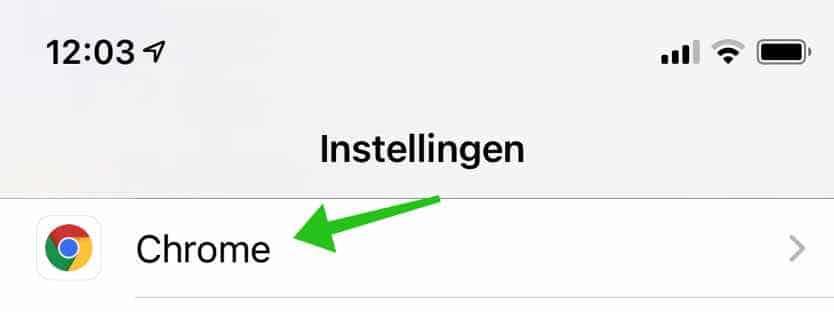 chrome instellingen ipad iphone