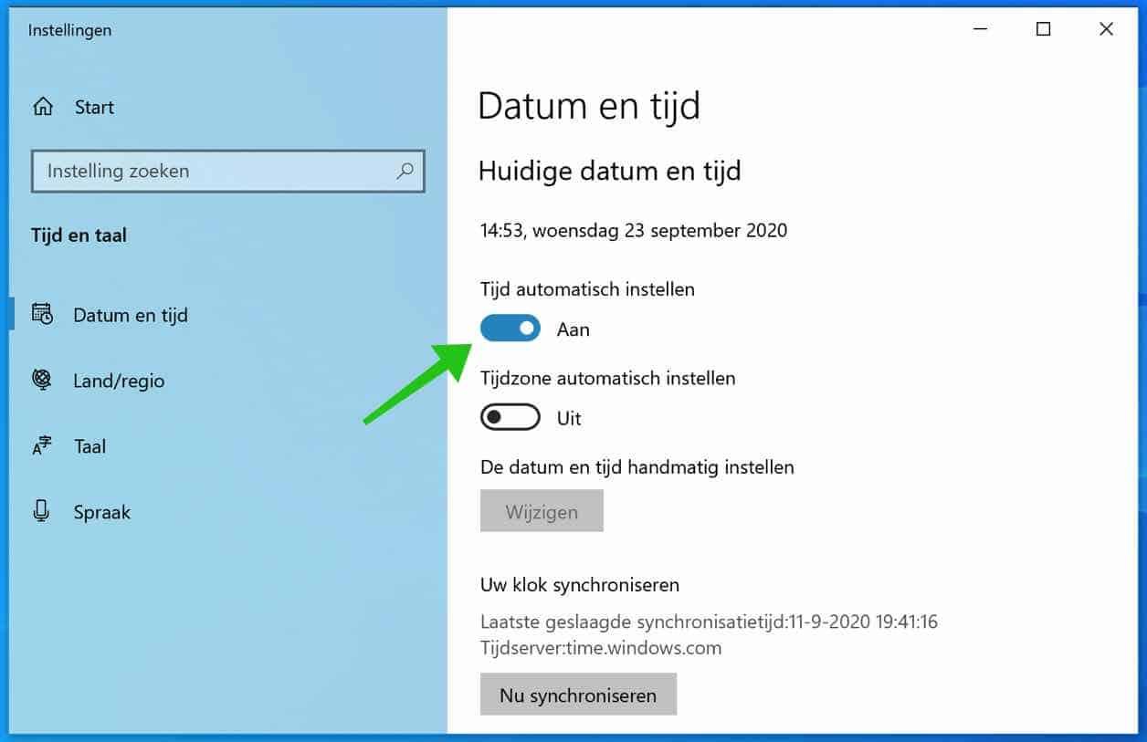 datum tijd aanpassen windows