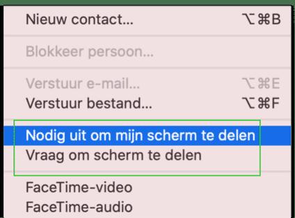 schermdeling via berichten mac