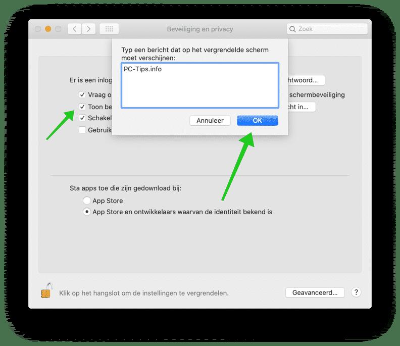 vergrendelingsbericht mac