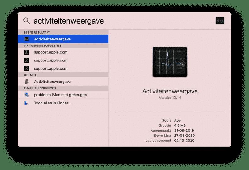 activiteitenweergave openen in mac