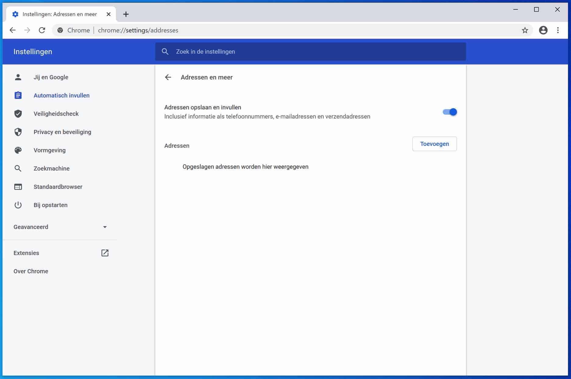 adresgegevens en meer automatisch aanvullen google chrome