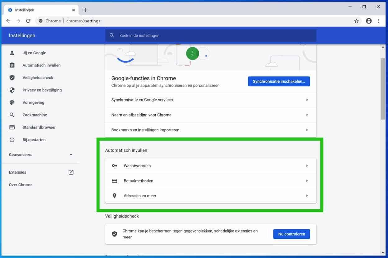 automatisch aanvullen opties google chrome