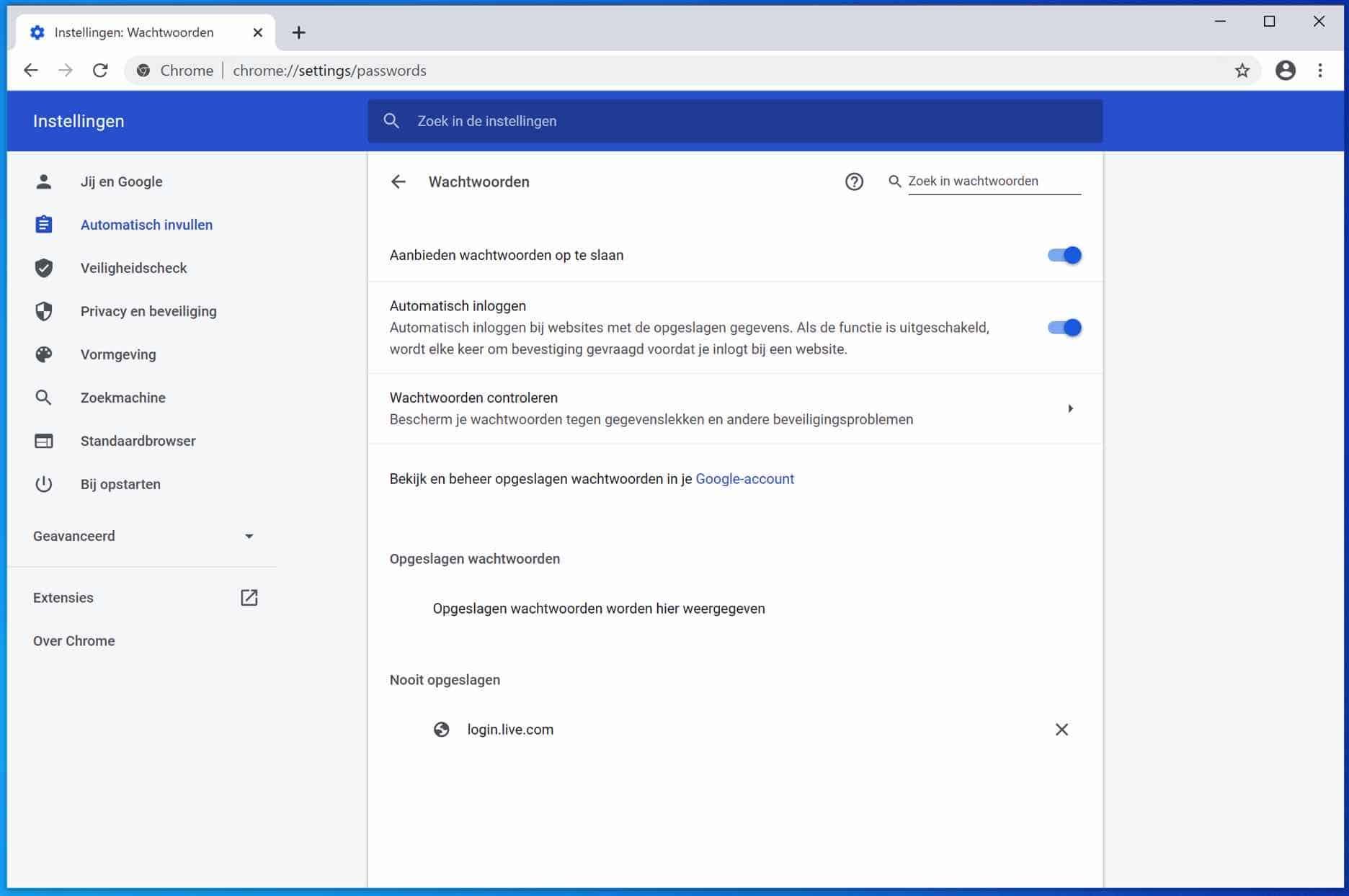 automatisch invullen wachtwoorden google chrome