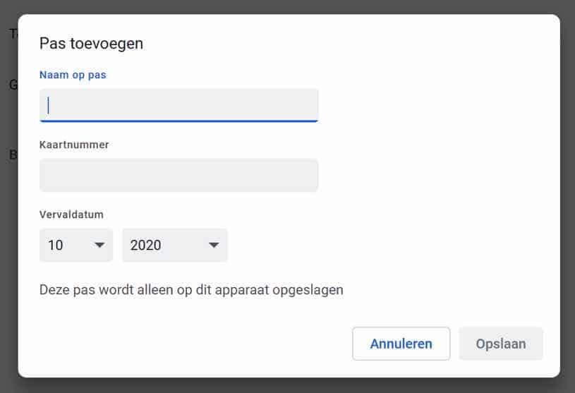 betaalmethode toevoegen aan google chrome