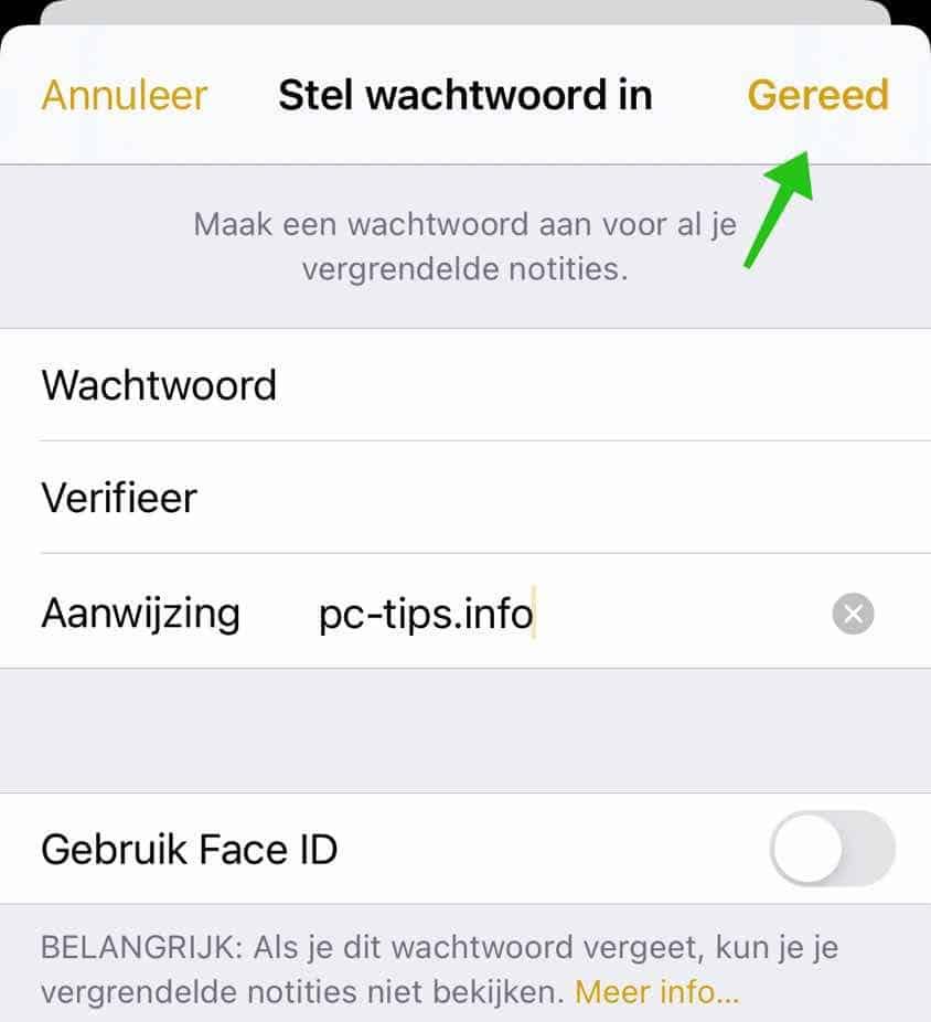 wachtwoord instellingen voor fotos iphone of ipad