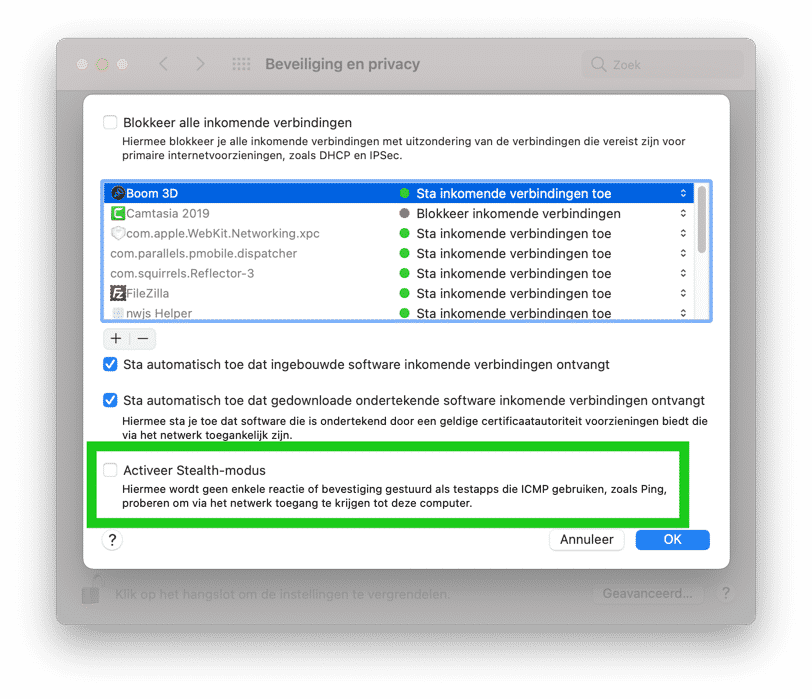 Stealth modus mac Firewall