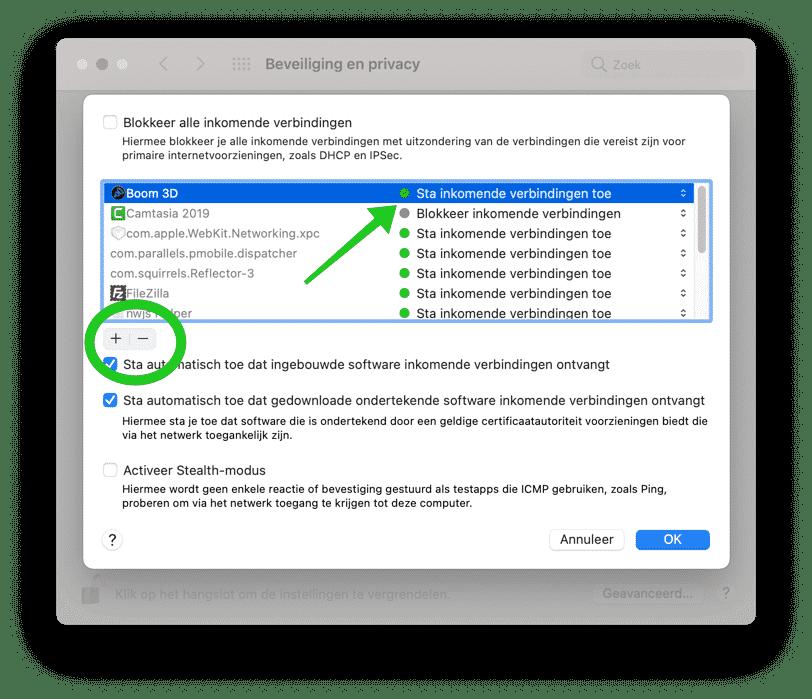 applicatie toevoegen of wijzigen firewall mac