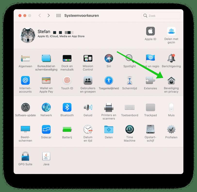 beveiliging en privacy instellingen mac