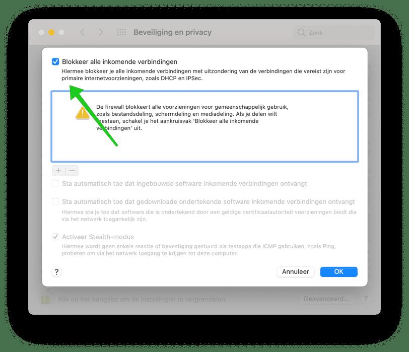blokkeer alle verbindingen uitschakelen mac firewall