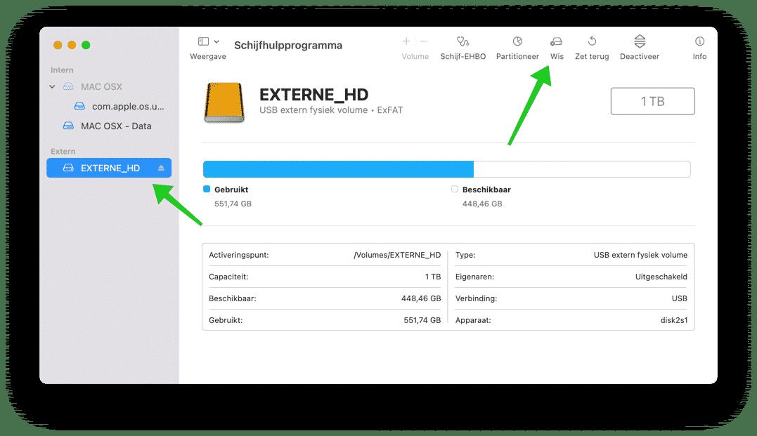 externe hardeschijf wissen mac