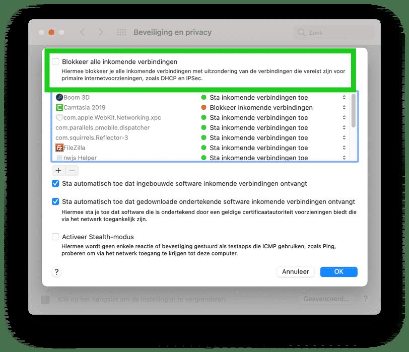 firewall blokkeer alle inkomende verbindingen mac