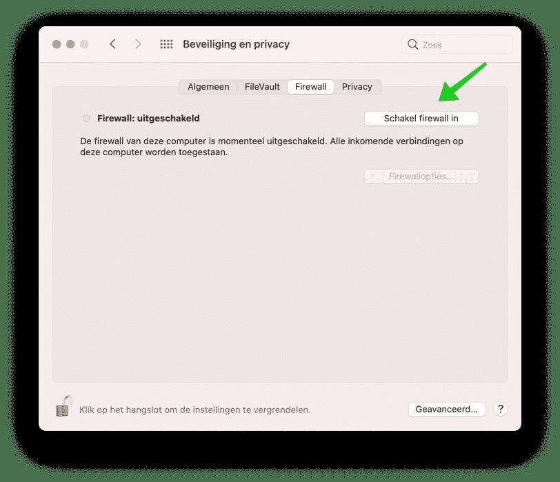 firewall inschakelen mac