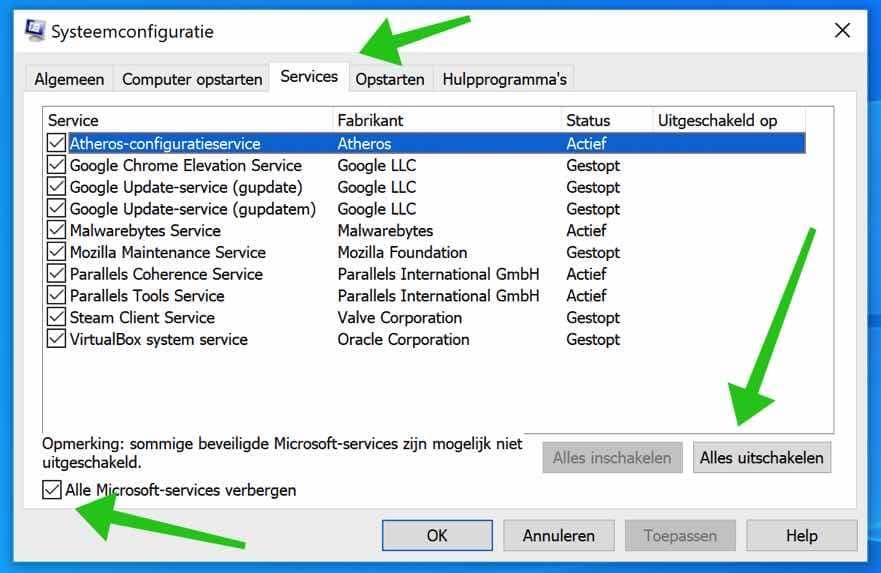 systeemconfiguratie services uitschakelen