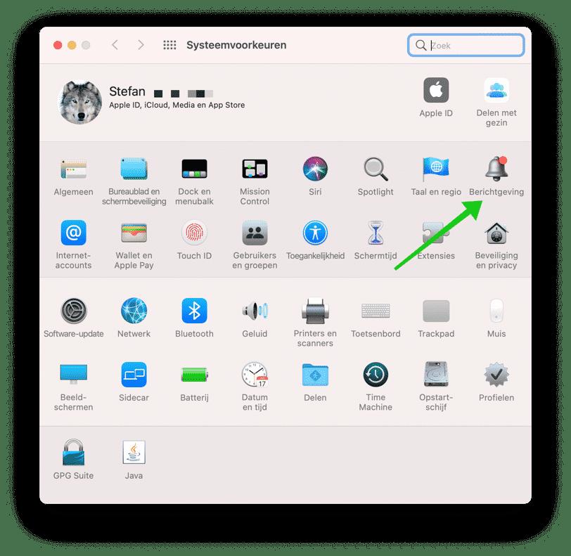 systeemvoorkeuren mac berichtgeving menu