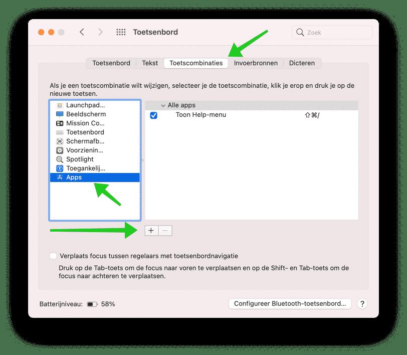 toetsencombinatie aanmaken mac
