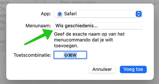 toetsencombinatie toevoegen mac