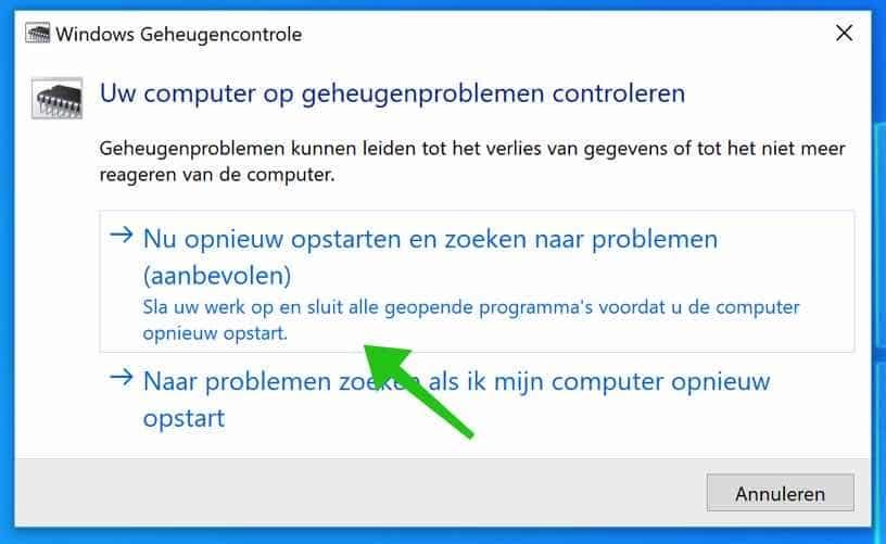 windows geheugencontrole