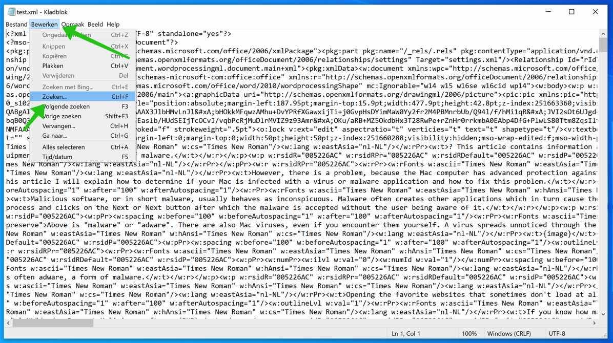 word document kladblok zoeken