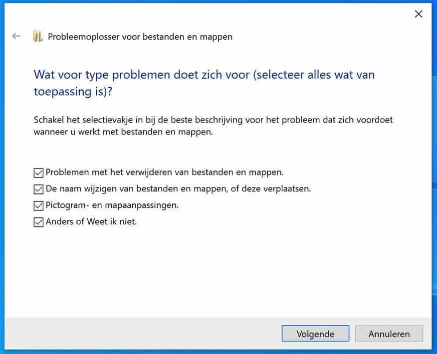 Probleem oplosser voor bestanden en mappen opties