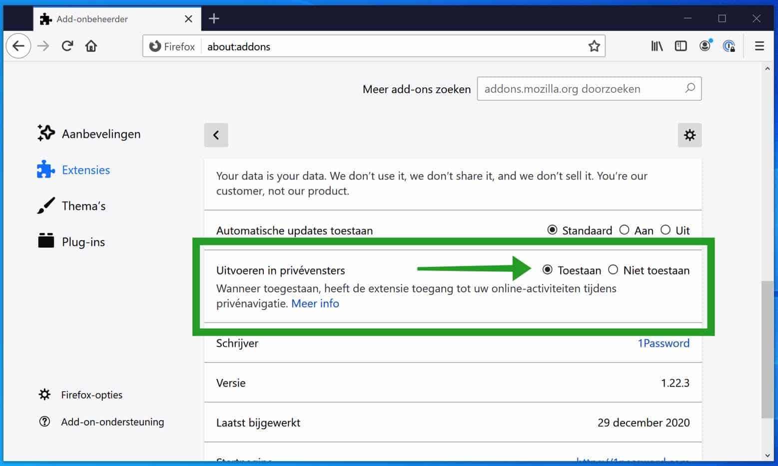 Firefox extensie inschakelen in Firefox privé modus - PC Tips