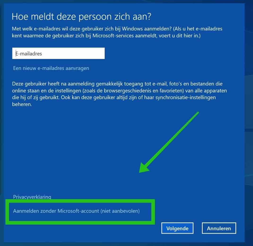 aanmelden zonder microsoft account windows 10