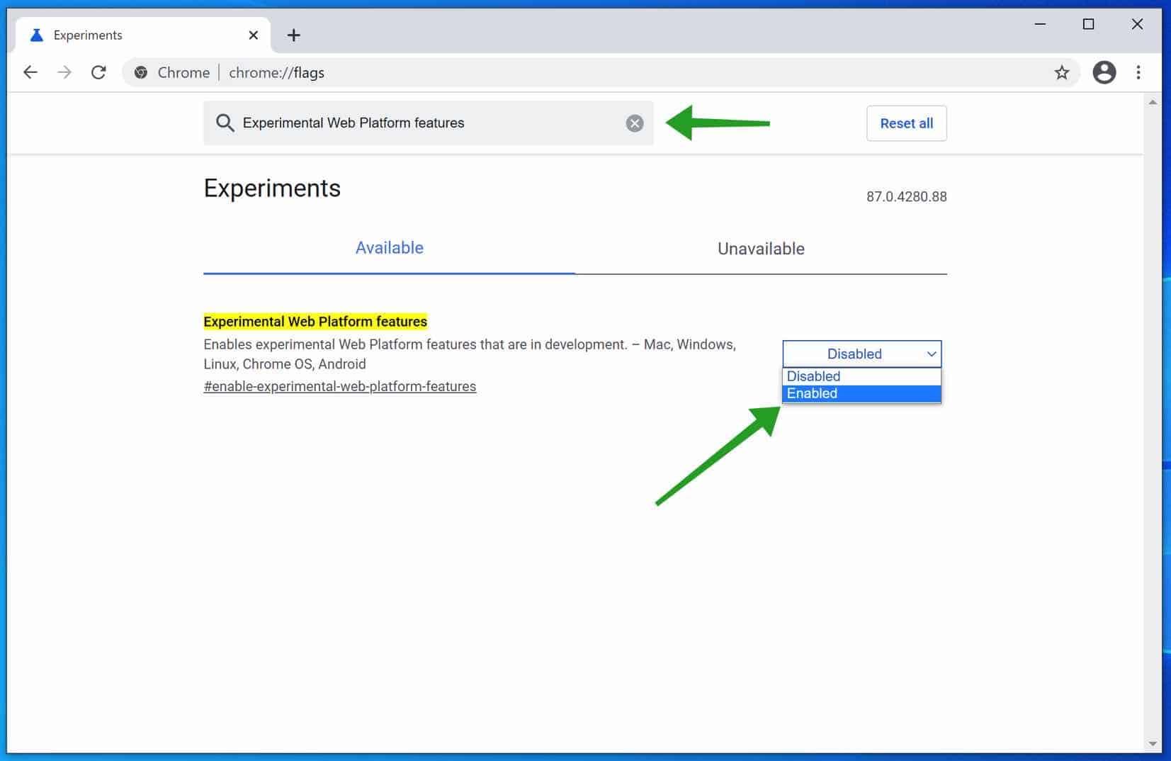 beta functies google chrome aanzetten