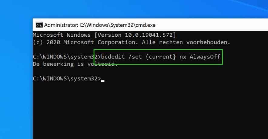 data execution prevention uitschakelen in windows 10