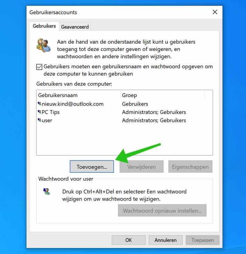 gebruikers toevoegen windows 10