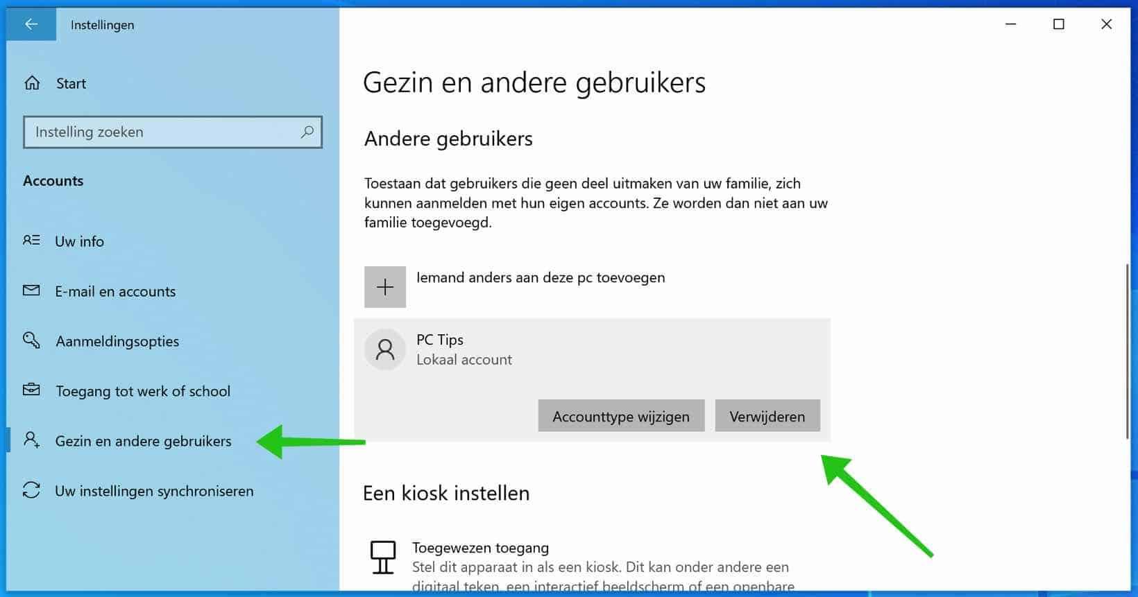 gebruikers verwijderen windows 10