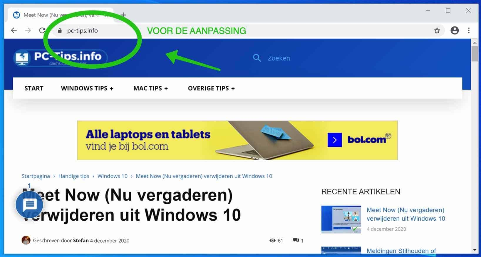 hele website adres weergeven in google chrome