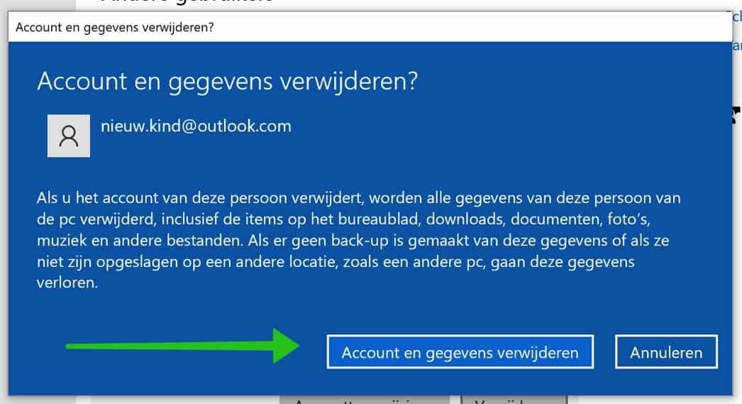 microsoft account definitief verwijderen windows 10