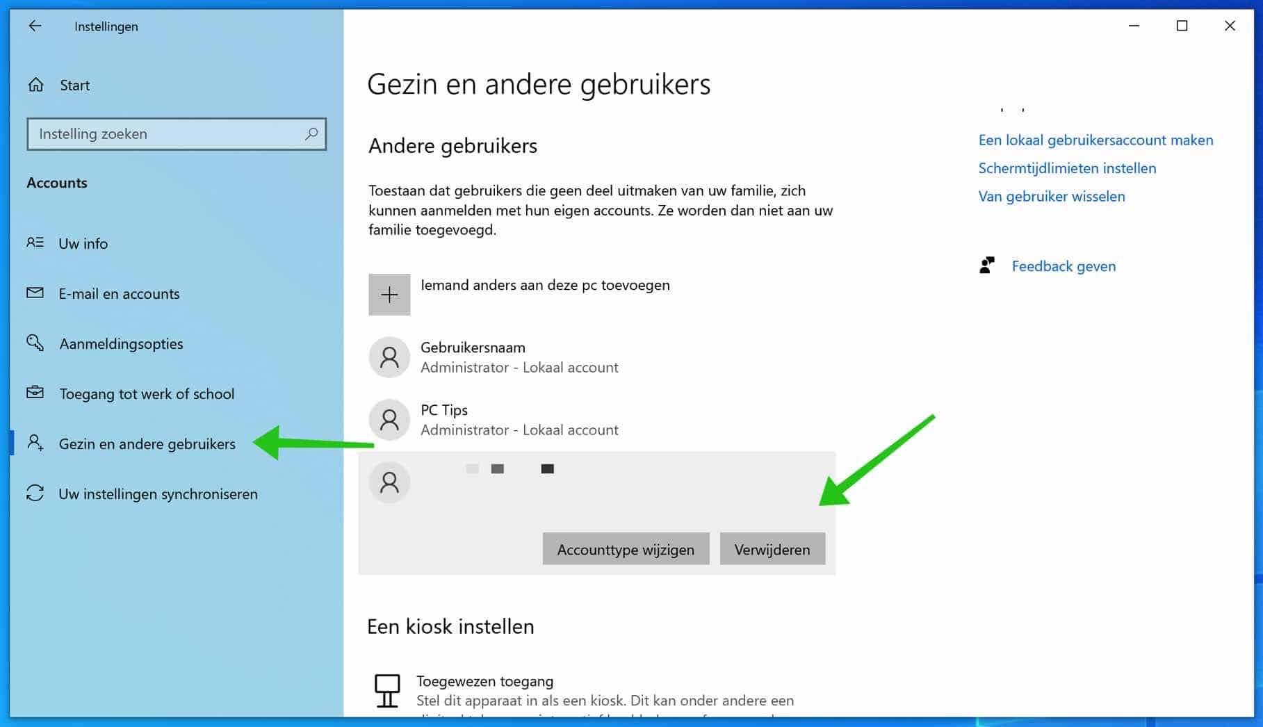 microsoft account verwijderen uit windows 10
