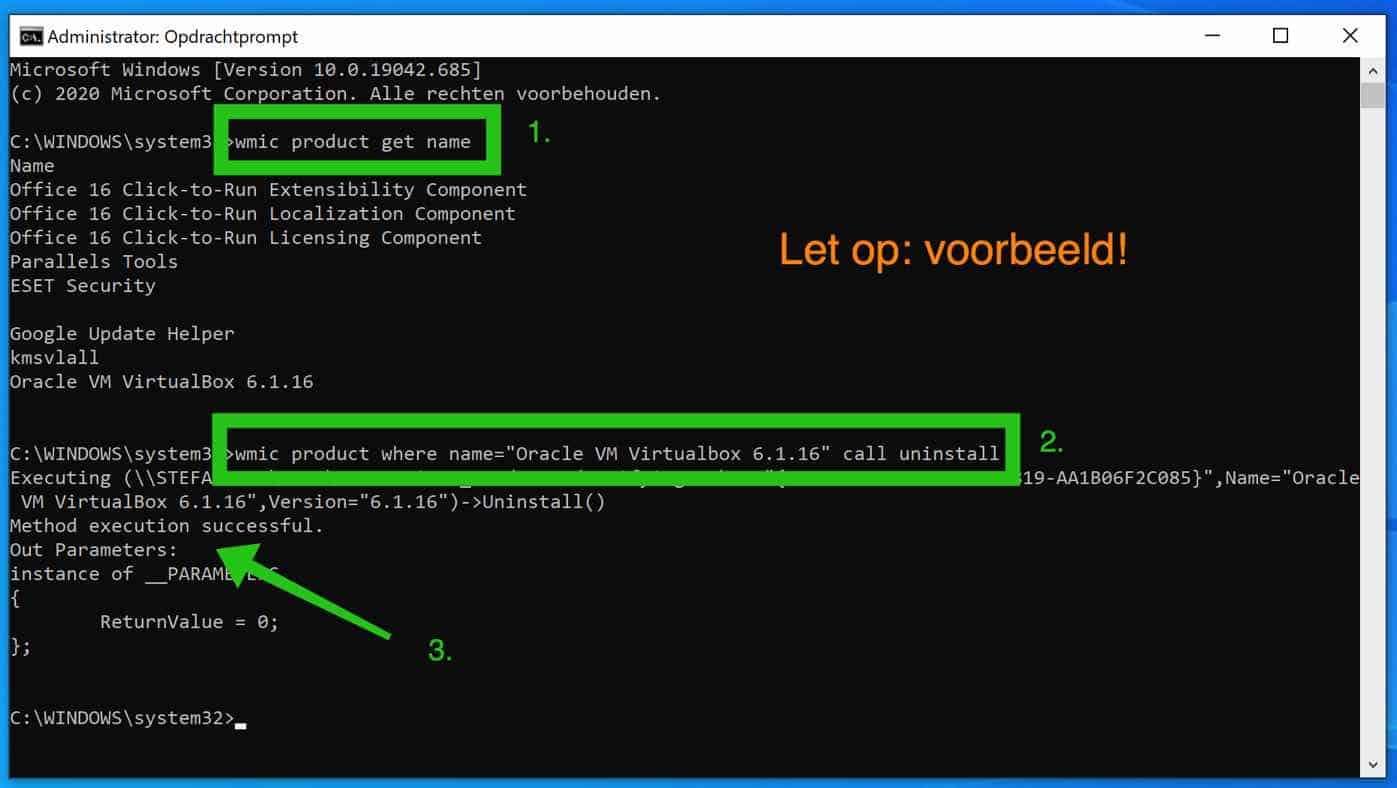 software verwijderen via opdrachtprompt
