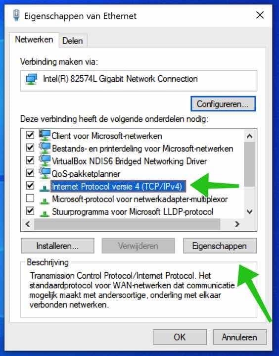 tcp ip protocol 4 eigenschappen