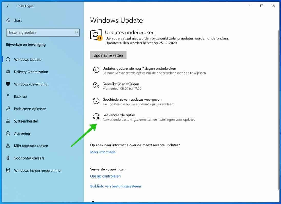 windows update geavanceerde opties