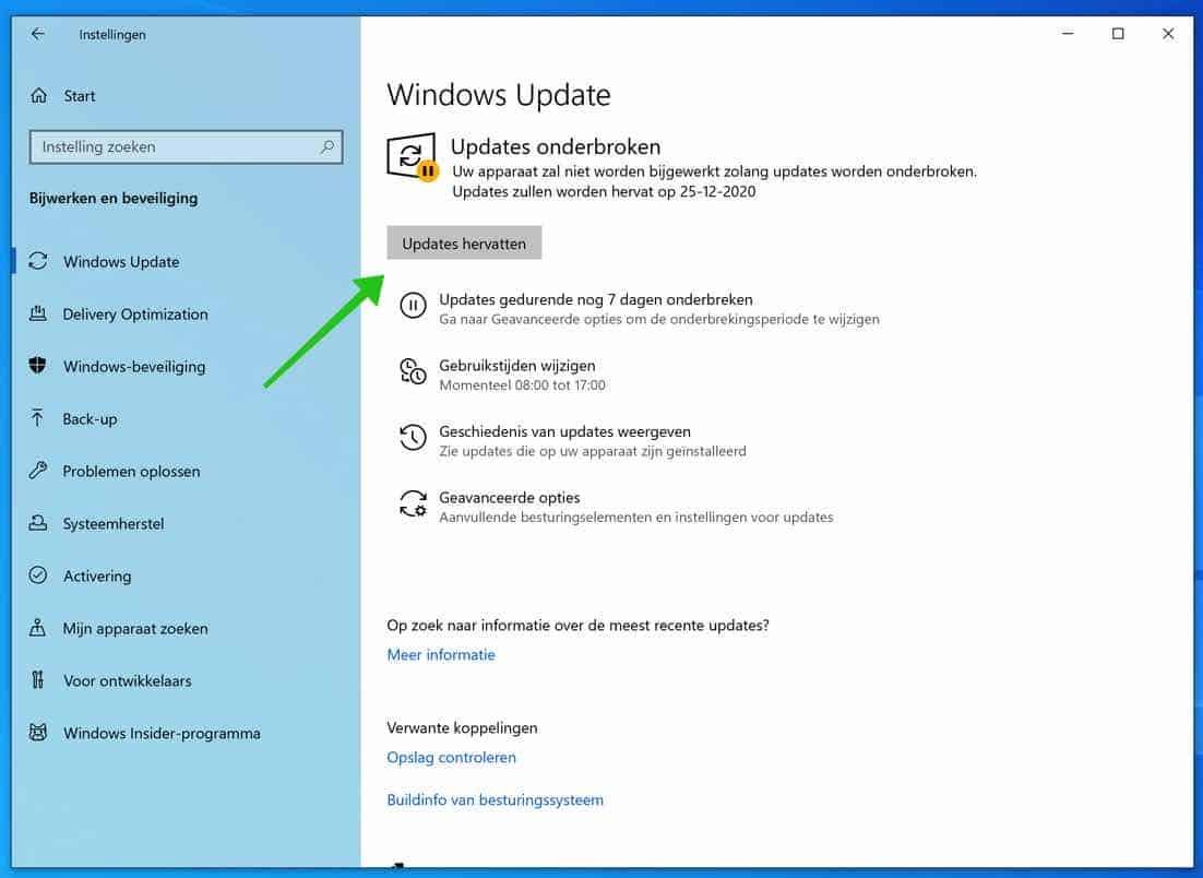 windows updates hervatten