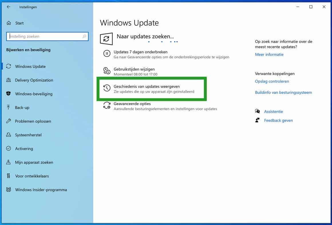 Geschiedenis van de updates weergeven in windows