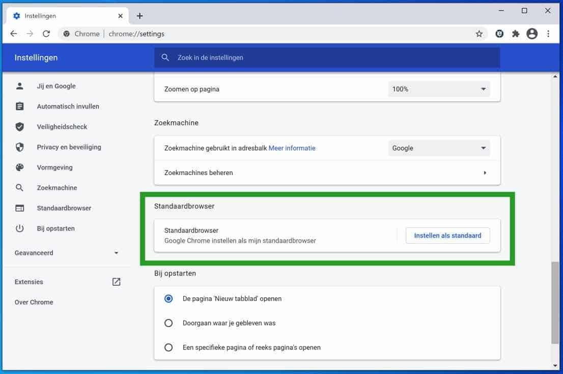 Google Chrome instellen als standaard browser in Windows 10