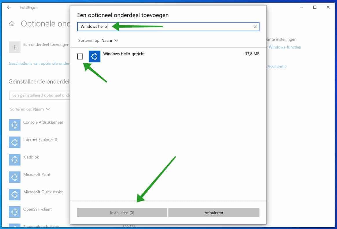 Windows Hello gezicht installeren in Windows 10