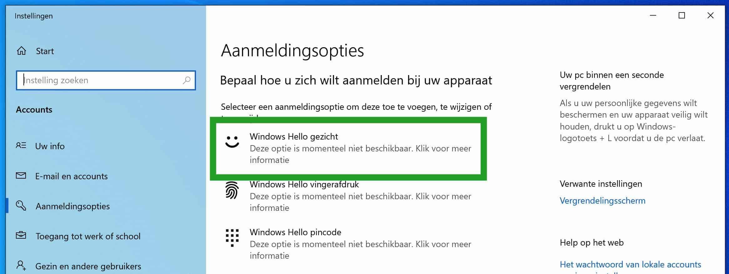 Windows hello is niet beschikbaar