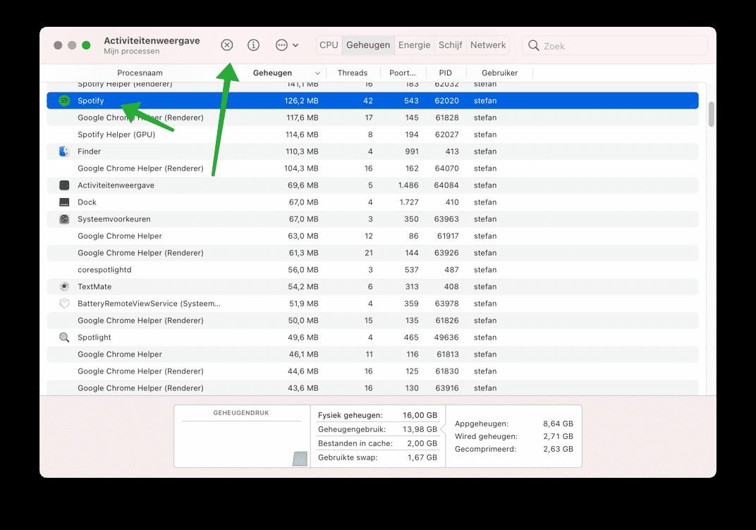 applicatie afsluiten via activiteitenweergave mac
