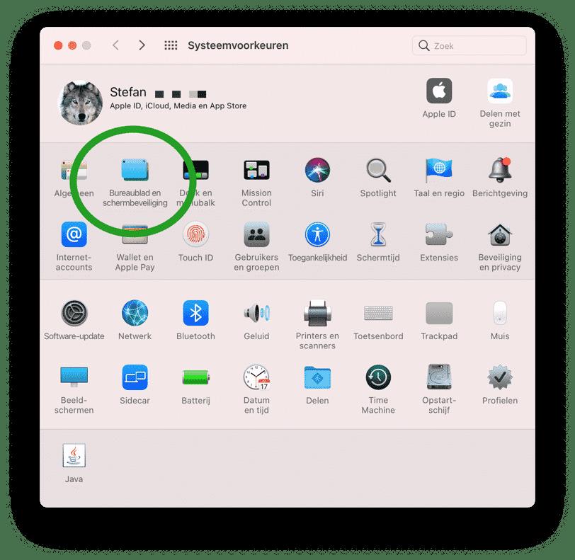 bureaublad en schermbeveiliging instellingen mac