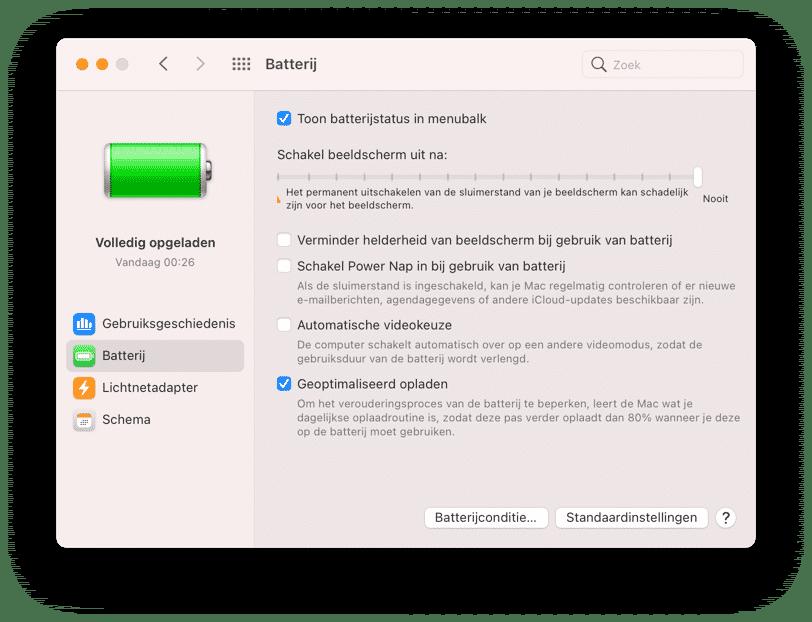 energie batterij instellingen mac