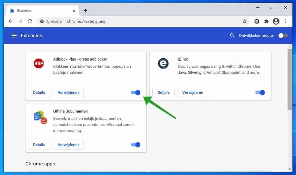extensie uitschakelen in google chrome