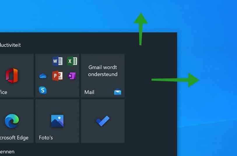 formaat start menu aanpassen windows 10