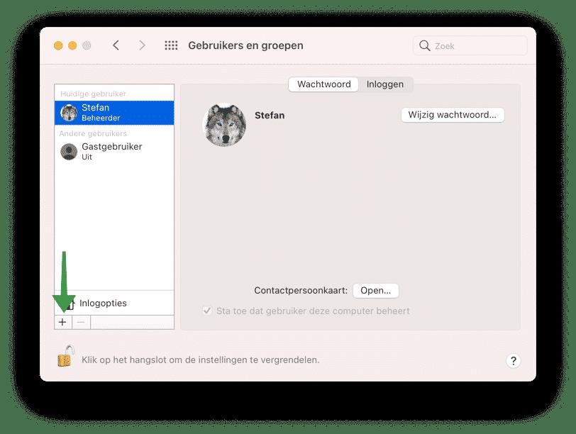 gebruikersaccount toevoegen aan Mac