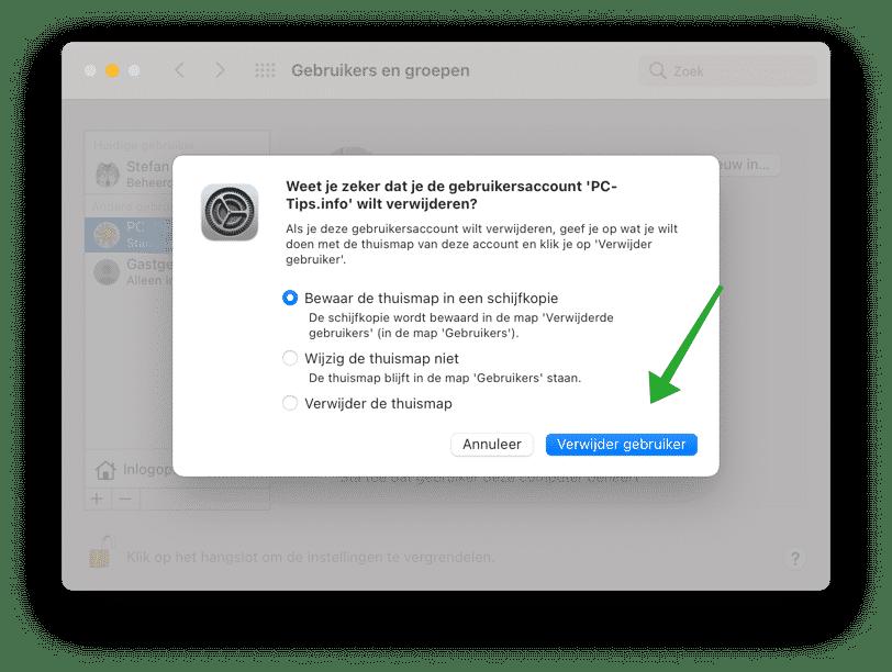 gebruikersaccount verwijderen bevestigen mac