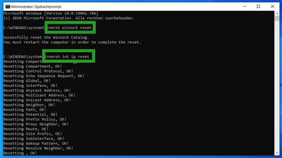 ip configuratie resetten